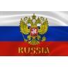 """Флаг России с гербом и надписью """"Russia"""""""
